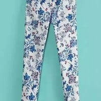 White Floral Print Pants with Pocket
