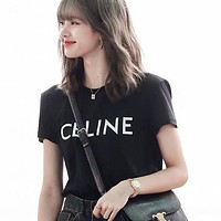CELINE Summer Women Men Casual Letter Print Short Sleeve T-Shirt Top Blouse
