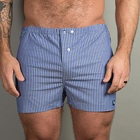 Blue & White Stripe Boxer Short - Nicholas