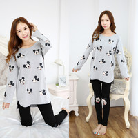 Free Shipping 2016 new arrived 100% cotton spring and autumn sleepwear women's long-sleeve sleepwear pajama 2 pcs