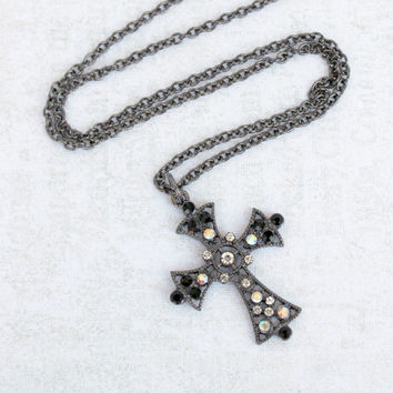 Hollywood Regency Inspired Gunmetal Cross Pendant with Black and Clear AB Crystals - Downton Abbey Necklace
