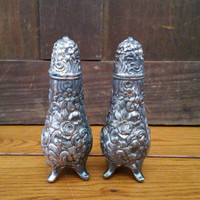 Vintage Ornate WB Co Silver Salt and Pepper Shakers 0103