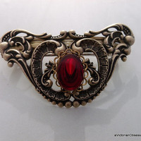 Victorian Red Holiday Large Vintage Victorian style Handcrafted hair barrette