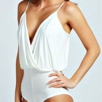 White Wrap Spaghetti Strap Cross Back Bodysuit