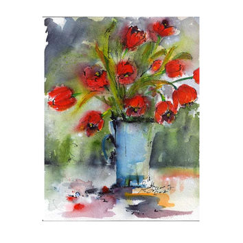 Red Tulips Original Watercolor Still Life by Ginette Callaway