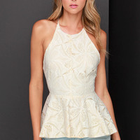 Pleased to Chic You Cream Lace Peplum Top