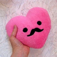 Little Mustache Heart Pillow - Plush Cute Kawaii Plushie Moustache Pillow - Valentine Day.  Other colors too