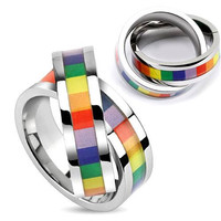 Double Rainbow - Double band linked ring pendant with rainbow colors inlaid in stainless steel