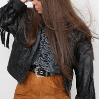 Bombers Woman : Fringed Festival Leather Jacket