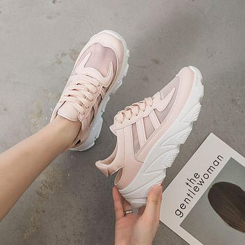 Breathable Mesh Upper Patchwork Platform Sneakers Shoes