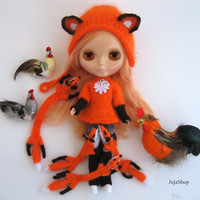 Blythe fox scarf knitted for Blythe doll, hand knit scarf, pullip fox scarf, accessories