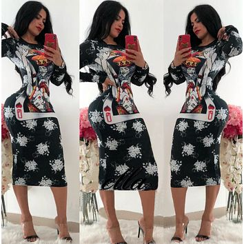 Women Long Sleeve Print Dress