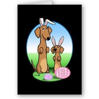 Easter #2 (Dachshunds - smooth red) Greeting Cards from Zazzle.com