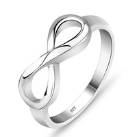 925 Sterling Silver Infinity Ring Endless Love Symbol Rings For Women