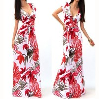2017 Summer Dress Women's Clothing Chinese Landscape Printing Deep V-neck Sexy Dress