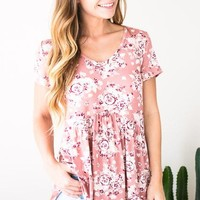 Morning Floral Babydoll Top - Mauve