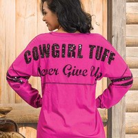 Cowgirl Tuff Women's Pink Long Sleeve Sequin-Trimmed Logo Tee