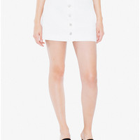 Colored Button Front Denim A-Line Skirt | American Apparel
