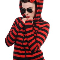 Gothic Emo Punk Funky Striped Cat Ears Light Weight Hoodies