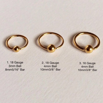 """Gold Ball(3mm,4mm) Captive Bead Ring(8mm5/16"""",10mm3/8"""") Ear,Nose,Septum Piercing 18,16 Gauge(EPC-74),Surgical Steel, Single Earring"""