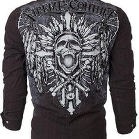 Licensed Official Xtreme Couture AFFLICTION Men BUTTON DOWN Shirt SARASEN Skull Cross UFC Roar $78