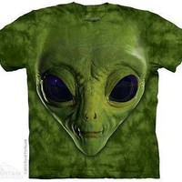 Green Alien Face Kids T-Shirt