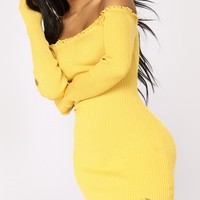 Harlow Frayed Off Shoulder Dress - Mustard