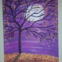 Hand painted wood framed canvas.  Autumn nights
