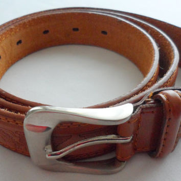 MENS GENUINE TAN  Leather Belt -  Curiel Designed - Circa 1960s - Fathers Day Gift - New - Tooled German Eagles - Chrome Buckle