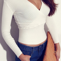 V Neckline Knit Top - White