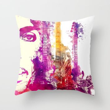 Prince and guitars Throw Pillow by GreatArtGallery