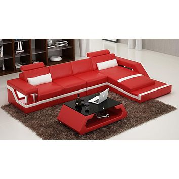 Luxurious Contemporary Leather Sectional Sofa Set