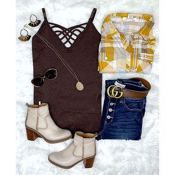 Long Caged Cami - Brown