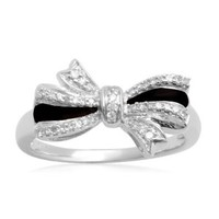 Sterling Silver Black Enamel Bow Diamond Ring (1/10 cttw, I-J Color, I2-I3 Clarity): Jewelry