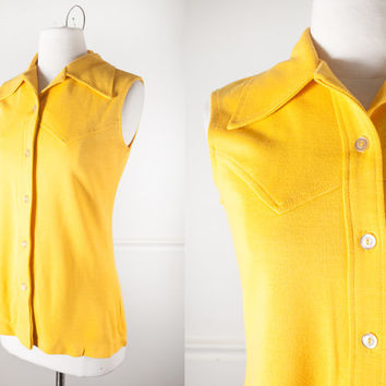 1960s Yellow Blouse / Vintage 60s Top / Retro Tunic Top / 60s Mod Top / Mod Blouse / Bright Yellow Shirt / Boho Chic Western Shirt / 70s Top