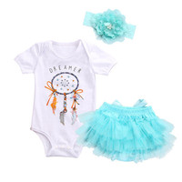 3PCS Baby Infant Girls Clothes Set Top Tutu Skirts Ruffles Bodysuit Tops Headband Outfits Clothing Baby Girl Costume