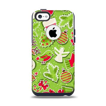 The Red and Green Christmas Icons Apple iPhone 5c Otterbox Commuter Case Skin Set