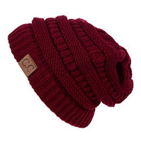 Generic Mens Womens Chucky Stretch Cable Knit Slouch CC Beanie Skully Ski Hat Unisex 1pc Burgundy