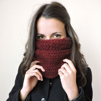 FREE SHIPPING Knit mohair infinity scarf Claret sift scarf Circle warm scarf Eternity dark red scarf Loop scarf