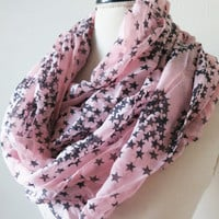 Star Infinity Scarf - Pink Scarf with Stars - Circle Scarf - Black Star Womens Scarves
