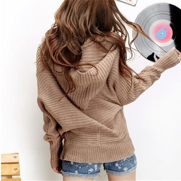 Women Girls lovely Winter Pure Color Hoodie Sweater Coat V-neck Pullover one size = 1932568772