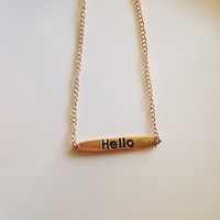 NWOT Gold hello name plate necklace