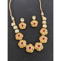 Yellow gold matte finish Flower Choker Necklace and Earring set with Kundan and CZ stone