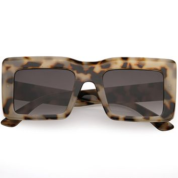 High Fashion Thick Rimmed Neutral Colored Square Sunglasses D102