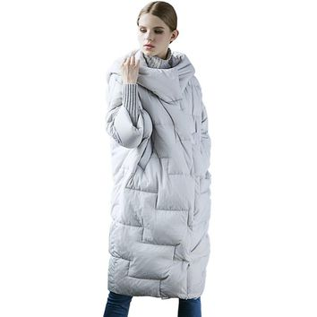 Fashion Warm Waterproof Hooded White Duck Down Jacket Parka 2017 New Winter Women Casual Loose Cocoon Plus Size Long Coat WFY160