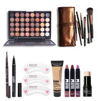Makup Tool Kit 8 PCS Must Have Cosmetics Including Eyeshadow Matte Lipstick With Foundation Eyeliner Makeup Brush Set