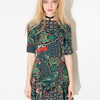Green Folk Fit and Flare Dress