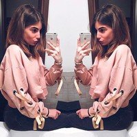 Fashion Stylish Women Pink Tops Pullover Sweatershirt [11873381071]