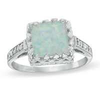 8.0mm Princess-Cut Lab-Created Opal and White Topaz Crown Ring in Sterling Silver - View All Rings - Zales