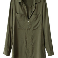 Oversize Shirt with Chest Patch Pockets in Green - Choies.com
